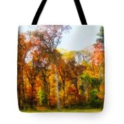 Row Of Autumn Trees Tote Bag