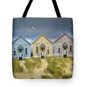 Row Of Pastel Colored Beach Cottages Tote Bag