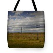 Row Of Utility Poles On The Prairie Tote Bag