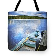Rowboat Docked On Lake Tote Bag