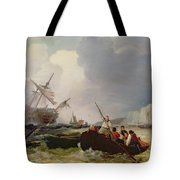 Rowing Boat Going To The Aid Of A Man-o'-war In A Storm Tote Bag