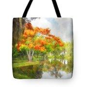 Royal Poinciana Lake Tote Bag