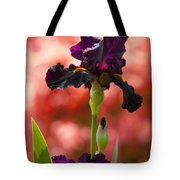 Royal Purple Tall Bearded Iris With Peachy Azalea Background Tote Bag