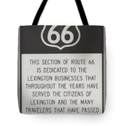 Rt 66 Lexington County Signage Tote Bag