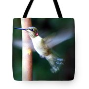 Ruby Throated Hummer In Flight Tote Bag
