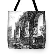 Ruins Of Roman Aqueduct, 18th Century Tote Bag by Photo Researchers