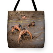 Runners Navigate An Obstacle Course Tote Bag