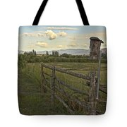 Rural Birdhouse On Fence Tote Bag