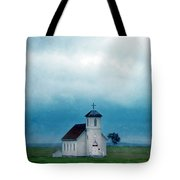 Rural Church With Stormy Sky Tote Bag