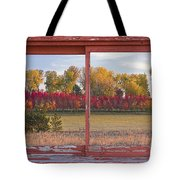 Rural Country Autumn Scenic Window View Tote Bag