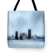 Rural Farm In Winter Tote Bag