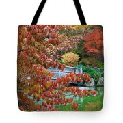 Rust Colored Leaves Over Autumn Pond Tote Bag