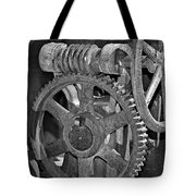 Rust Gears And Wheels Black And White Tote Bag