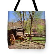 Rustic Wagon At Historic Lonely Dell Ranch - Arizona Tote Bag by Gary Whitton