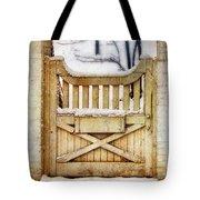 Rustic Wooden Gate In Snow Tote Bag