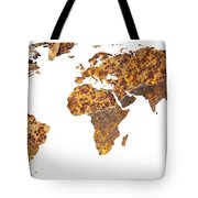 Rusty World Map Tote Bag