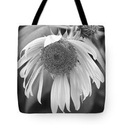 Sad Sunflower Black And White Tote Bag