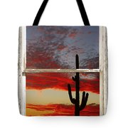 Saguaro Sunset Picture Window View Tote Bag