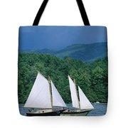 Sailboats And Darkening Sky, Lake Tote Bag