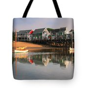 Sailboats And Harbor Waterfront Reflections Tote Bag