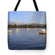 Sailboats At Anchor In Bowness On Windermere Tote Bag