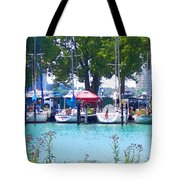 Sailboats In Dock Tote Bag