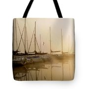 Sailboats In Golden Fog Tote Bag