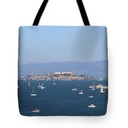 Sailboats In The San Francisco Bay Overlooking Alcatraz . 7d7862 Tote Bag