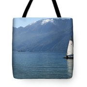 Sailing Boat And Mountain Tote Bag