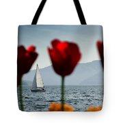 Sailing Boat And Tulip Tote Bag