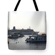 Sailing Boats And A Large Yacht In The Harbour At Sharm El Sheikh Tote Bag