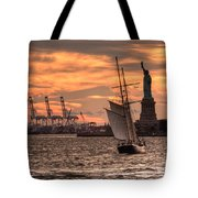 Sailing To Liberty  Tote Bag