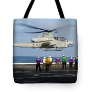 Sailors And Marines Watch An Ah-1z Tote Bag