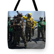 Sailors Fight A Simulated Fire Drill Tote Bag