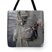 Sailors Fire A Mark 38 Machine Gun Tote Bag