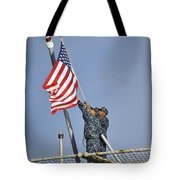 Sailors Lower The National Ensign Tote Bag