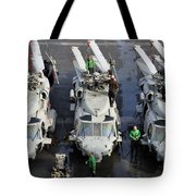 Sailors Perform Maintenance On Mh-60s Tote Bag