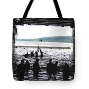 Sailors Play Football During A Swim Tote Bag