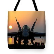 Sailors Prepare An Fa-18c Hornet Tote Bag