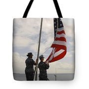 Sailors Raise The American Flag Aboard Tote Bag