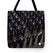 Sailors Stand At Attention During An Tote Bag