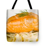 Salmon Steak On Pasta Decorated With Dill Closeup Tote Bag
