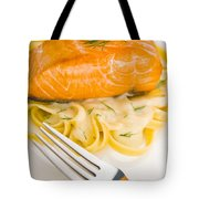 Salmon Steak On Pasta Decorated With Dill Tote Bag