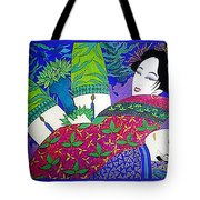 Samurai And Geisha Pillowing Tote Bag
