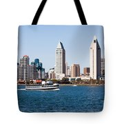 San Diego Skyline And Tour Boat Tote Bag