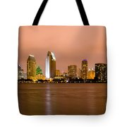 San Diego Skyline At Night Tote Bag by Paul Velgos