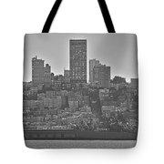 San Francisco Skyline-black And White Tote Bag
