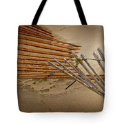 Sand Fence Falling Down On The Beach Tote Bag