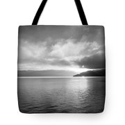Sand Point Black And White  Tote Bag