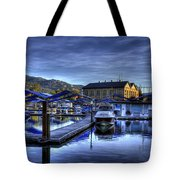 Sandpoint Marina And Power House Tote Bag